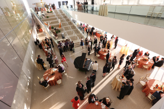Guests at Bravo! BGSU enjoy an elegant and spirited evening of the arts, with performances and displays by University students throughout The Wolfe Center for the Arts.