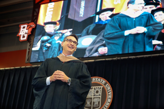 Emanuele Conti '89 offered  words of wisdom to BGSU's most recent graduates during commencement ceremonies Dec. 18, 2015.