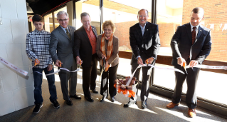 Celebrating the opening of the new lab spaces are (left to right), Matthew Carroll, junior at Huron High School and College Credit Plus student, Robert Bostwick, president, Bostwick Design Partners, William Balzer, vice president for faculty affairs and strategic initiatives and former BGSU Firelands dean, Mary Ellen Mazey, BGSU president, Daniel Keller, BGSU Board of Trustees, and Andrew Kurtz, dean of BGSU Firelands.