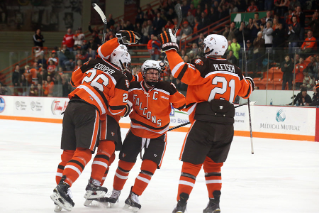 In December, the Bowling Green State University hockey team climbed two spots to No. 12 nationally in the USCHO.com poll and one spot to No. 13 in the USA Today/USA Hockey Magazine poll