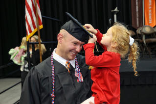 Derrick Loy,  a 30-year-old who is in his 11th year of active duty service in the U.S. Air Force, visited the BGSU campus for the first time to attend his commencement ceremony.