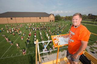 BGSU welcomes Dr. Michael King as band director for the Falcon Marching Band.