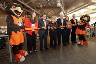 February 27, 2015 was a special day for the Department of Recreation and Wellness as BGSU faculty, staff, students, alumni, and  community members gathered to celebrate the completion of the Student Recreation Center renovation with a ribbon cutting ceremony. Left to right are Freddie Falcon, Kelsey Hammersmith, Mike Wilcox, Mary Ellen Mazey, Fran Voll, Jill Carr, Steve Kampf, and Frieda Falcon.