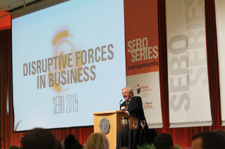 Dr. J. Robert Sebo '58, '13 (Hon.) welcomes guests to the 2015 Sebo Series in Entrepreneurship.
