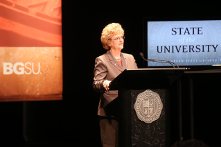 "President Mary Ellen Mazey sets the stage for the 2015-16 academic year at her Aug. 28 State of the University Address. Lauding the University community's accomplishments, she urged  its members to employ innovation to lift BGSU to even higher levels, calling upon everyone to serve as ""agents of change."""