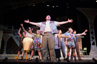 BGSU students perform in Urinetown in the Donnell Theater at The Wolfe Center for the Arts.