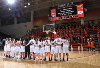 The Bowling Green State University women's basketball team celebrate a win over the University of Evansville Aces at the Stroh Center.