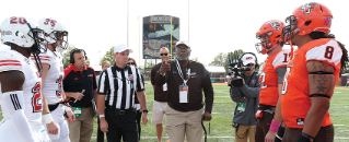 Class of 2017 member Chuck McCampbell '59 flipping the coin at the Northern Illinois football game on Saturday