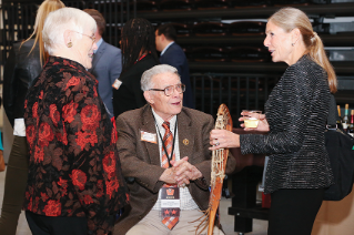 Inductee Ginny (McGee) Beneke '76 with Hall of Fame member Mickey Cochrane (Class of 1992) and wife Pat