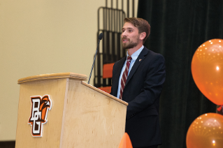 Student-Athlete Advisory Committee president and student-athlete Kohl Taberner '18 (Men's Cross Country) speaks during Friday's induction ceremony