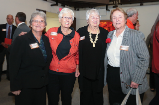 Falcon Athletics legends: Darla Davis '79, along with former coaches Janet Parks (tennis and golf), Dolores Black '63, '76 (softball and golf), and Carol Durentini (field hockey and lacrosse)