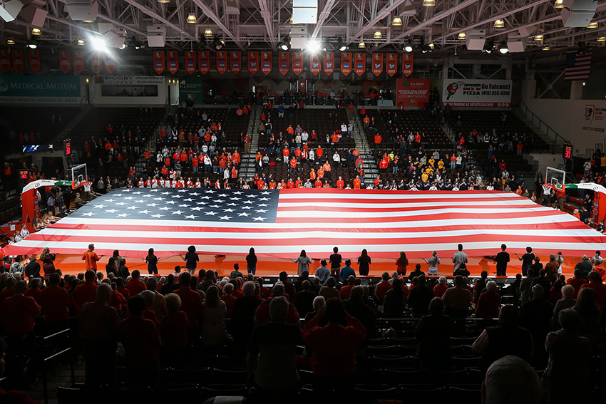 BGSU Student Veteran Organization acquires full-court flag