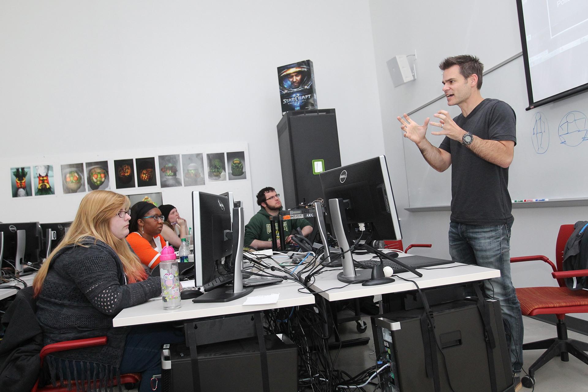 teacher holding class