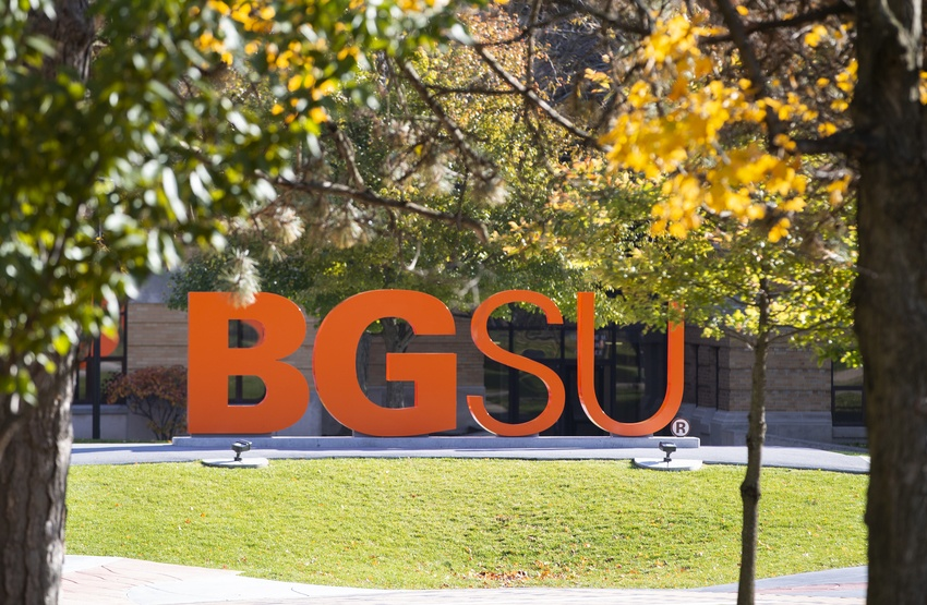 BGSU letters on campus in the fall