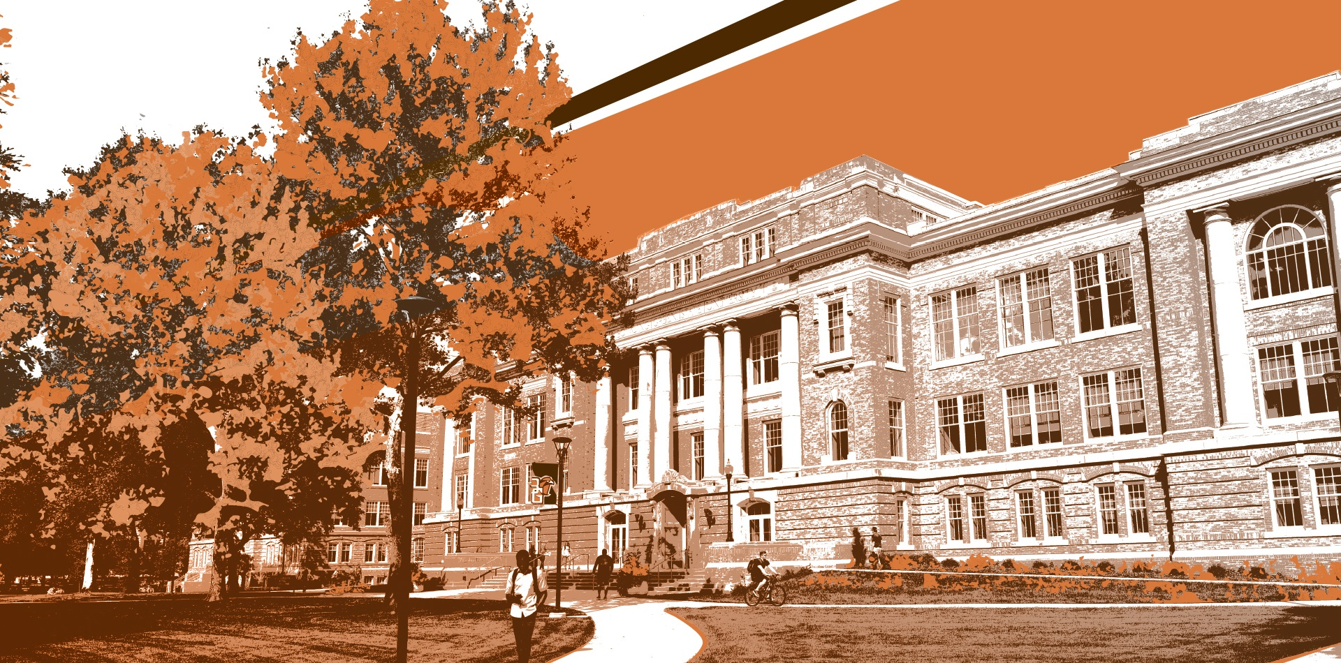 Illustration of University hall in orange and brown