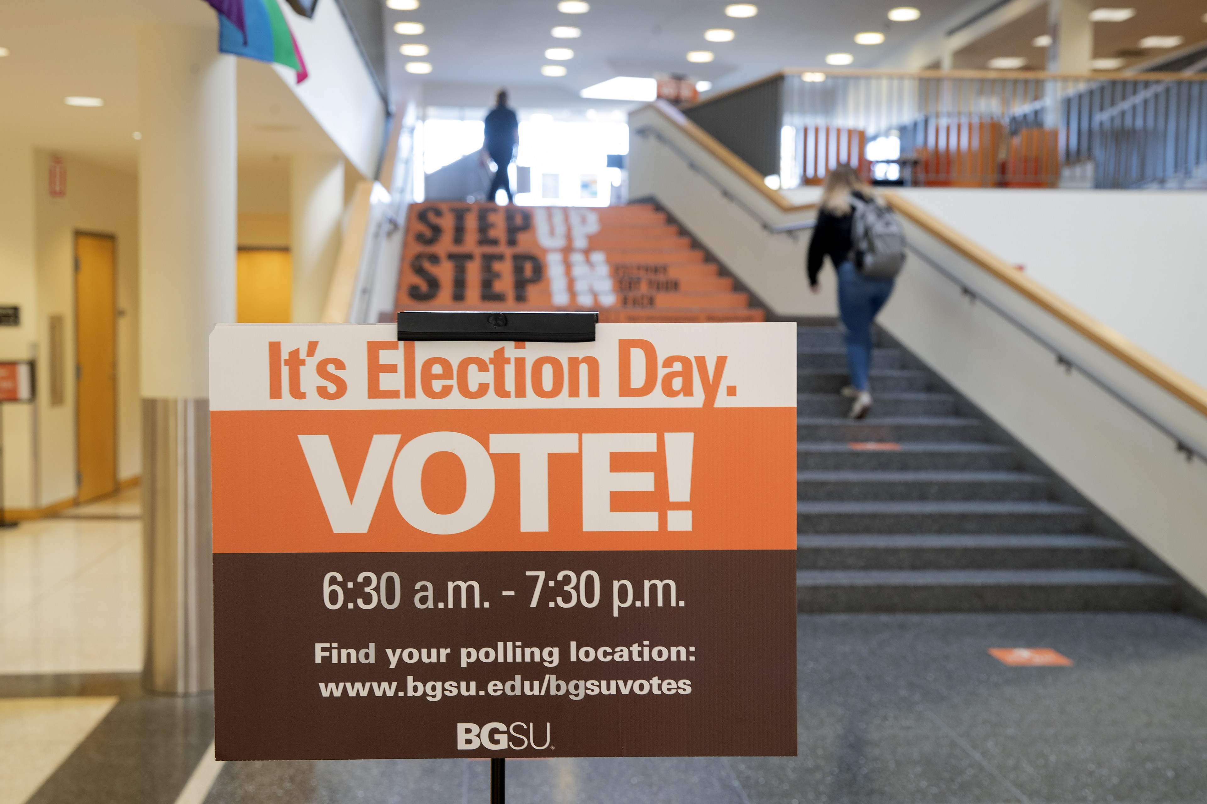 Photo of sign that states BGSU Election day. Vote. 6:30 a.m. to 7:30 p.m. Find your polling place bgsu.edu/bgsuvotes