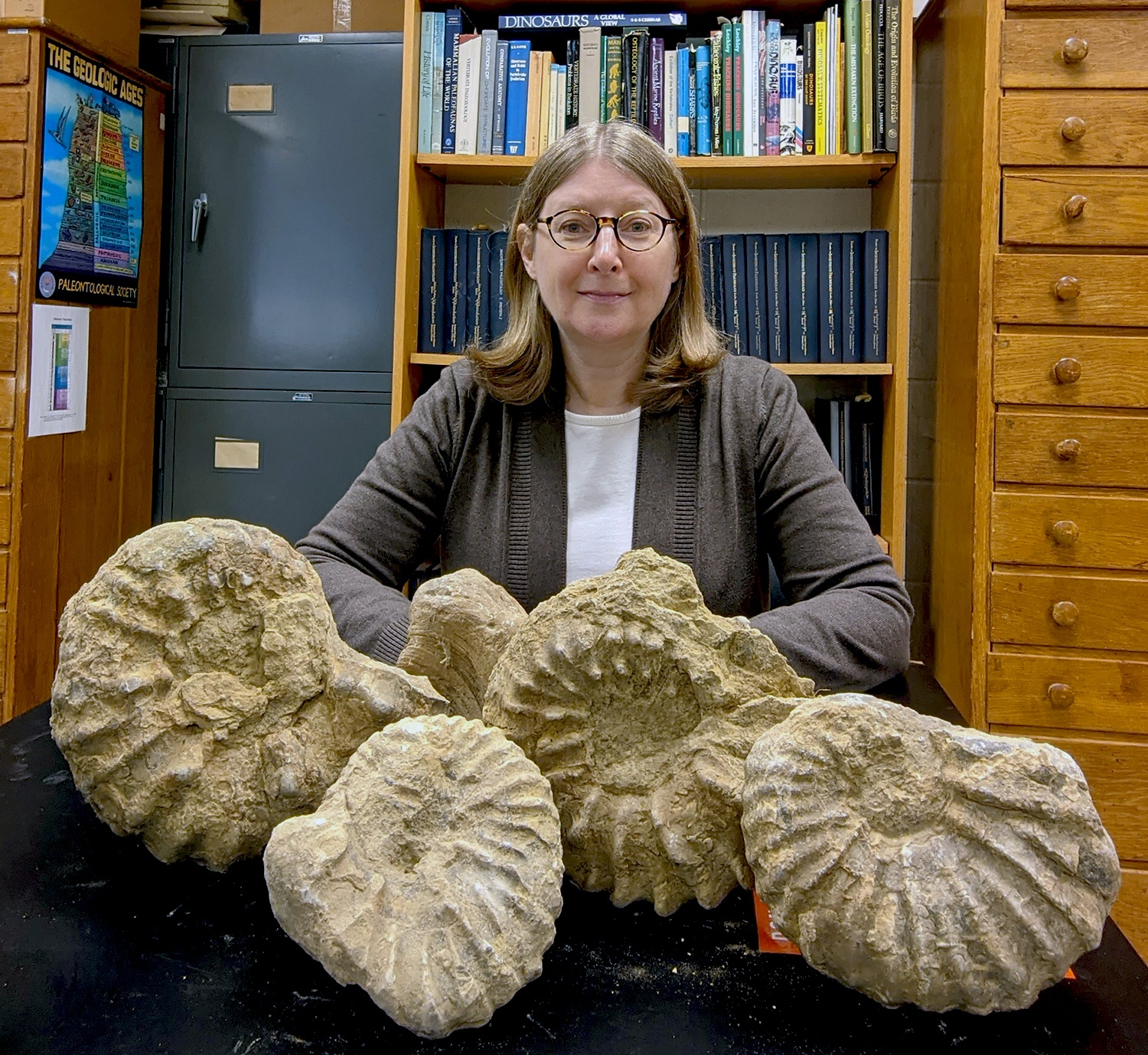 Evolution and extinction of an ancient mollusk, informs the research of Dr. Peg Yacobucci