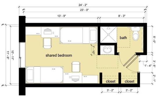 Room layout of a double suite in Centennial.