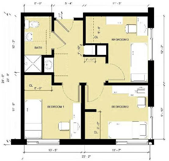 Room layout of a 4-bedroom suite in Centennial.