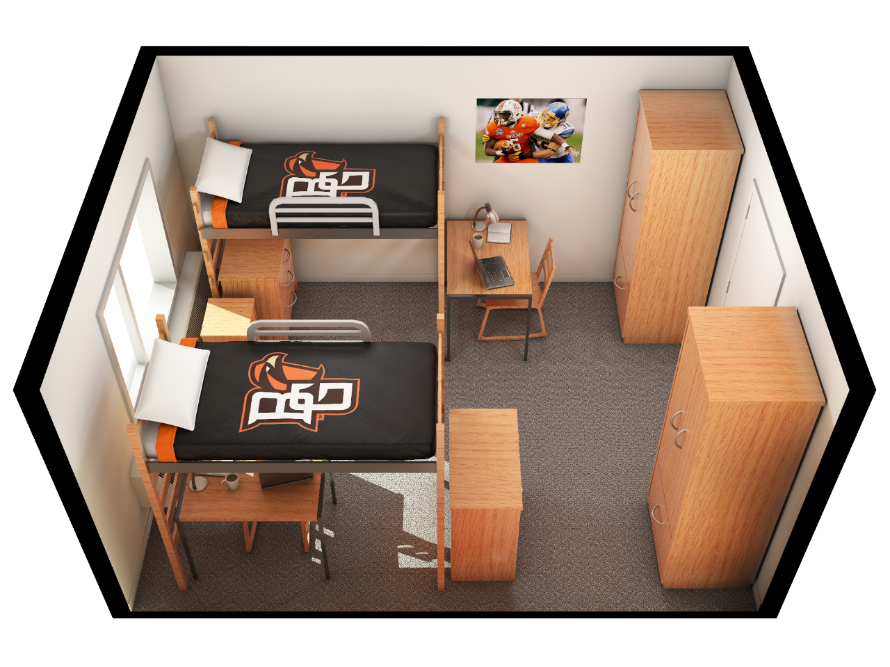 Layout of a double occupied room in Conklin.