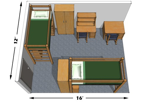 Room layout for a double occupied room in Offenhauer Towers.