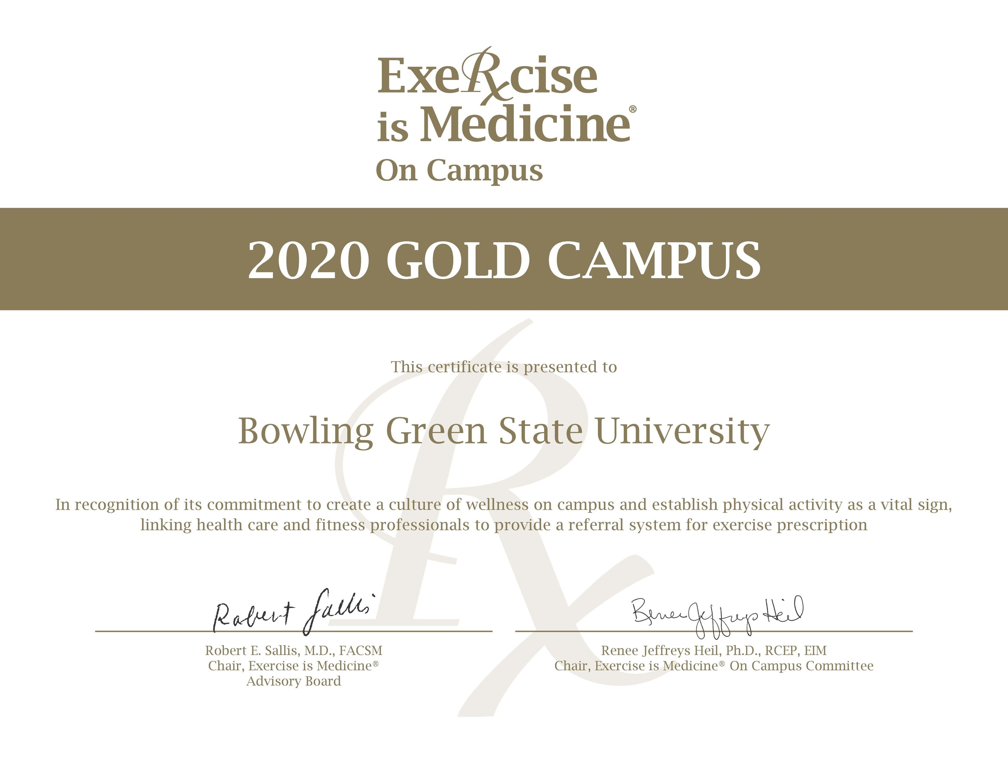 Exercise is Medicine Gold Award