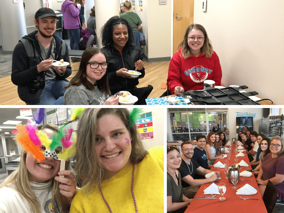 A photo collage of students having dinner together and doing crafts.