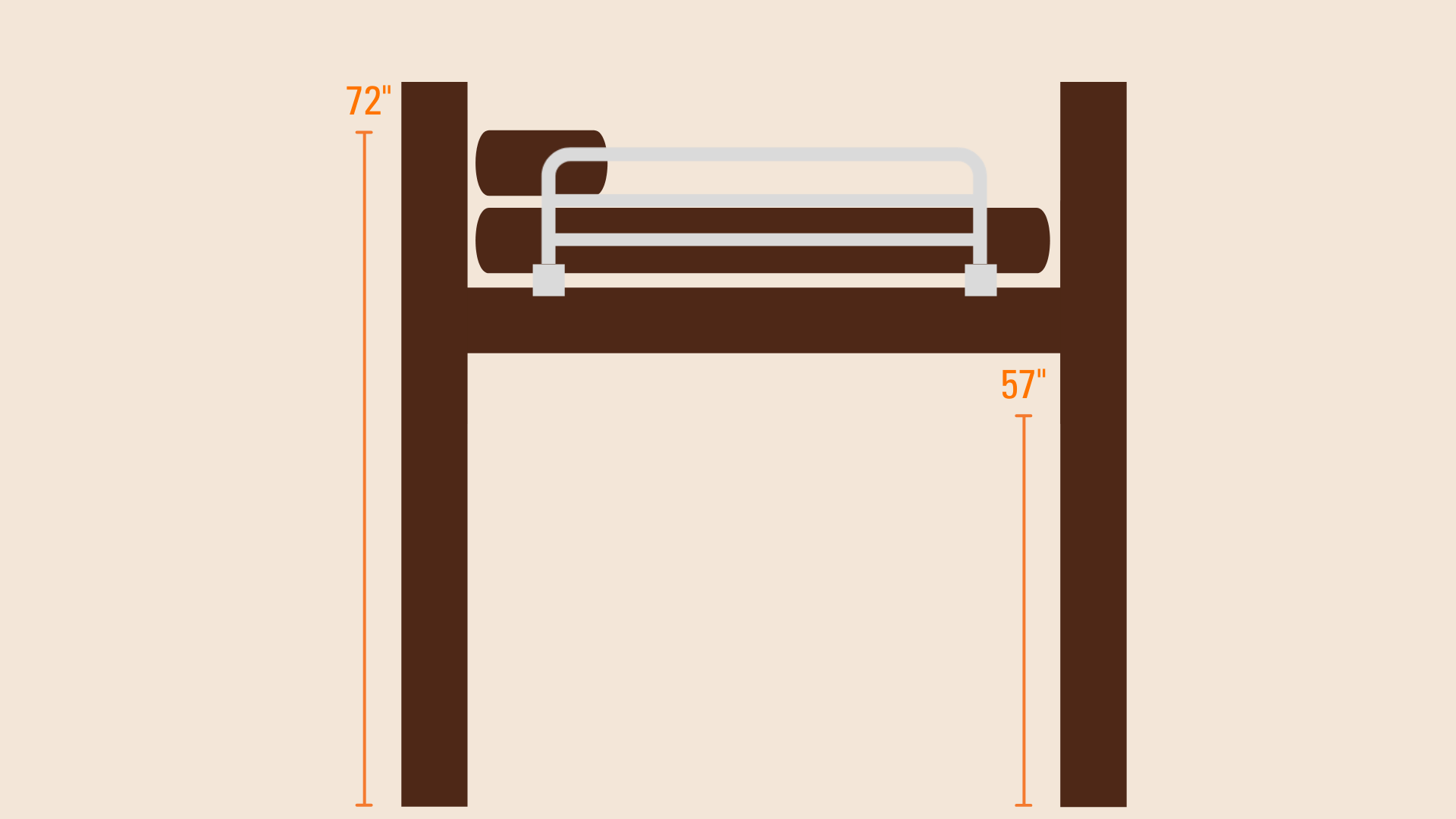 "Animated image of a bed with the dimensions 72"" and 57"""